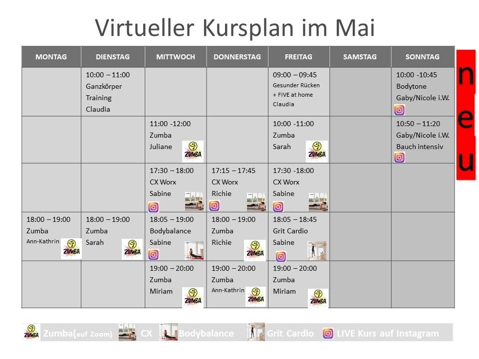 Virtueller Kursplan im Mai